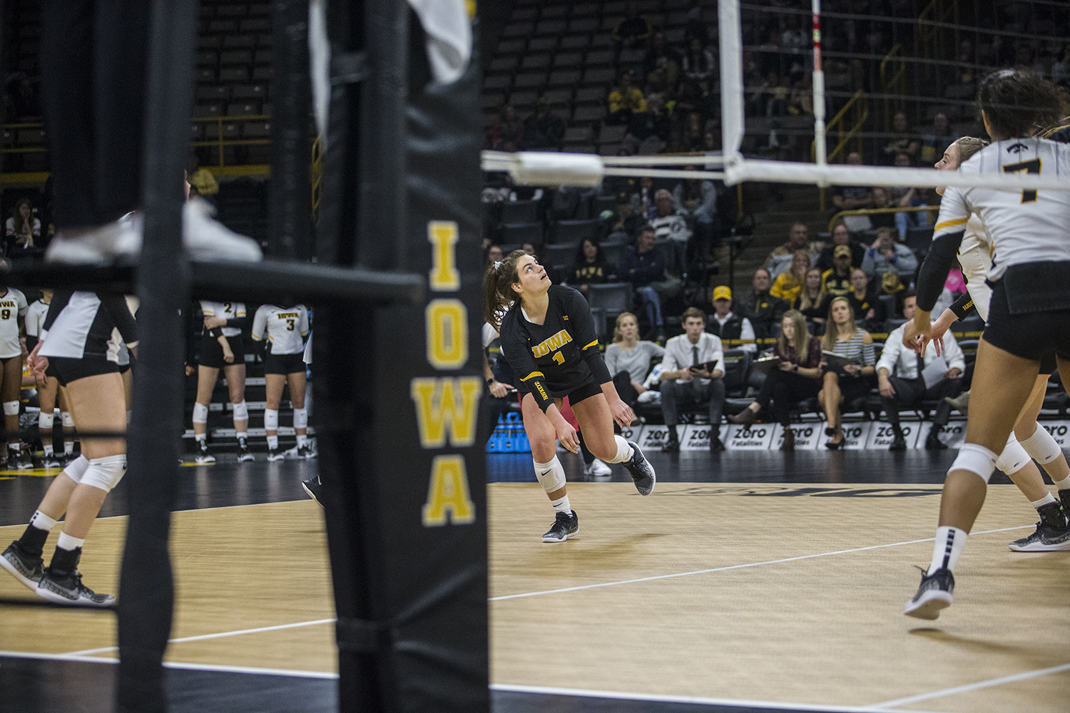 Iowa+senior+Molly+Kelly+tracks+the+ball+during+a+volleyball+match+between+Iowa+and+Penn+State+at+Carver-Hawkeye+Arena+on+Saturday%2C+Nov.+3%2C+2018.+The+Hawkeyes+were+shut+out+by+the+Nittany+Lions%2C+3-0.