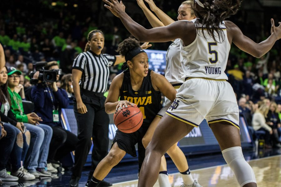 Iowa+senior+Tania+Davis+dribbles+the+ball+during+a+basketball+match+between+Iowa+and+Notre+Dame+in+South+Bend%2C+IN+on+Thursday%2C+November+29%2C+2018.+The+Hawkeyes+were+defeated+by+the+Fighting+Irish%2C+105-71.+