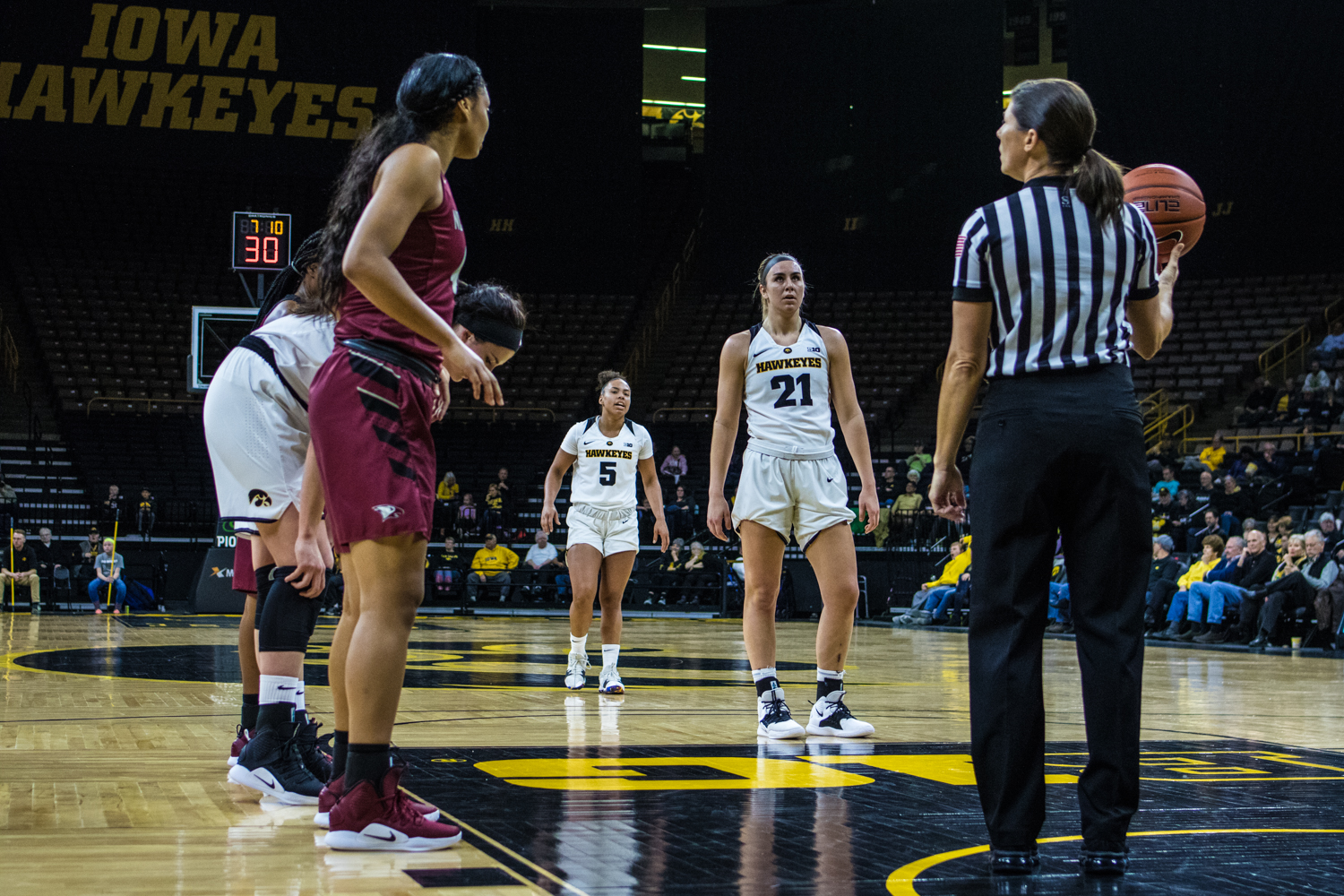 Iowa+forward+Hannah+Stewart+prepares+for+a+free+throw+during+a+women%27s+basketball+game+between+Iowa+and+North+Carolina+Central+at+Carver-Hawkeye+Arena+on+Saturday%2C+Nov.+17%2C+2018.+The+Hawkeyes+devastated+the+visiting+Eagles%2C+106-39.+