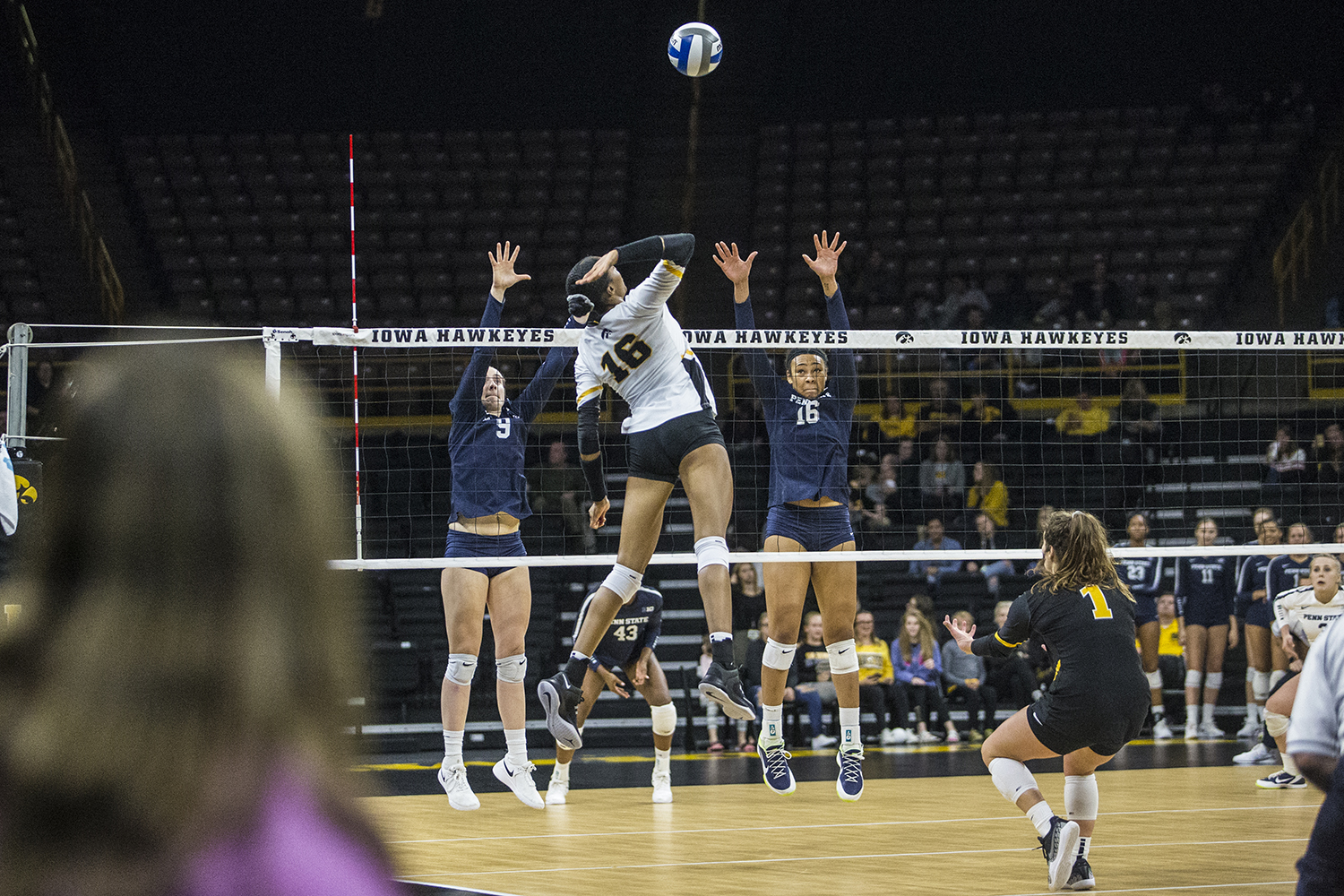 Iowa+senior+Taylor+Louis+spikes+the+ball+during+a+volleyball+match+between+Iowa+and+Penn+State+at+Carver-Hawkeye+Arena+on+Saturday%2C+Nov.+3%2C+2018.+The+Hawkeyes+were+shut+out+by+the+Nittany+Lions%2C+3-0.