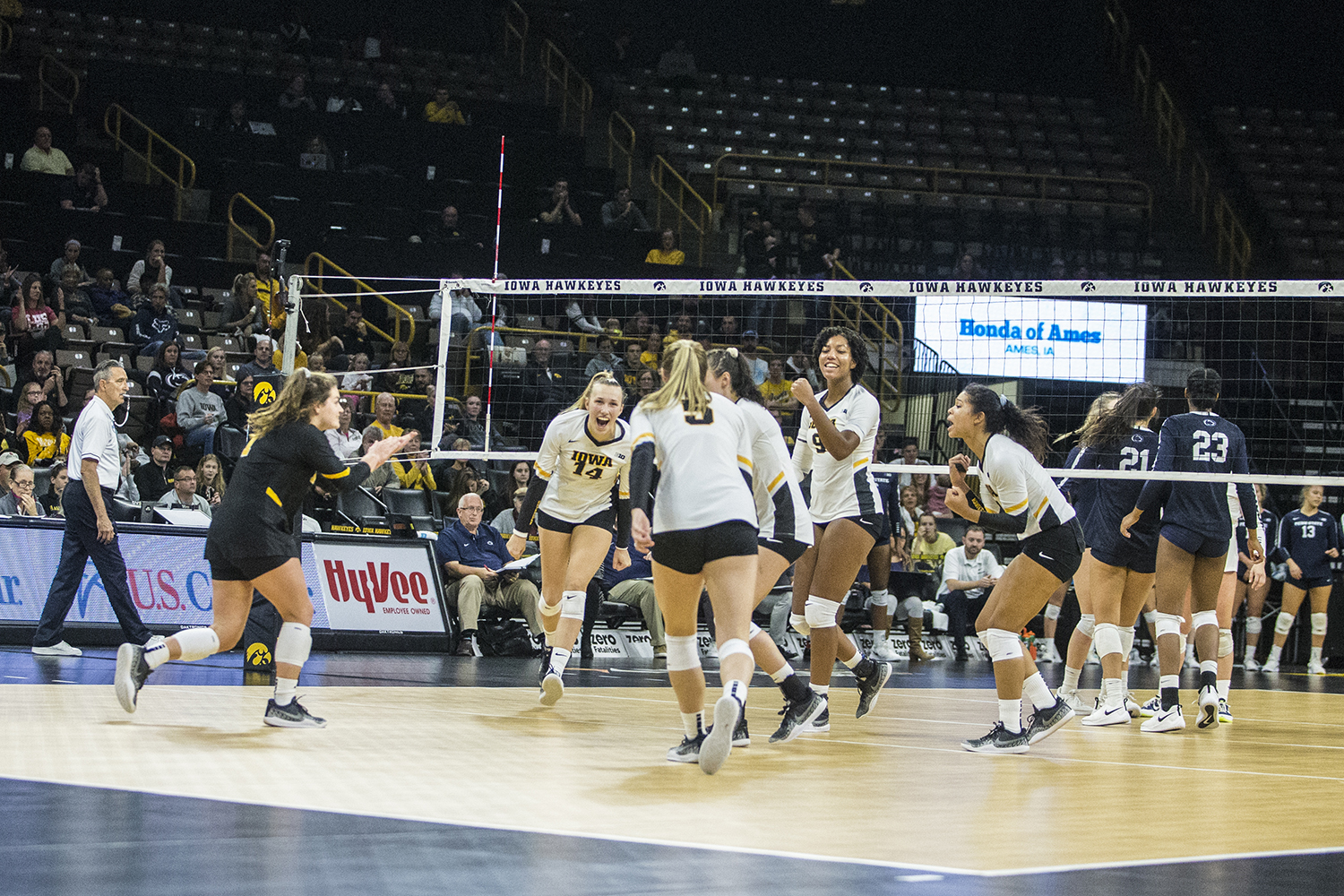 Iowa+players+celebrate+during+a+volleyball+match+between+Iowa+and+Penn+State+at+Carver-Hawkeye+Arena+on+Saturday%2C+Nov.+3%2C+2018.+The+Hawkeyes+were+shut+out+by+the+Nittany+Lions%2C+3-0.