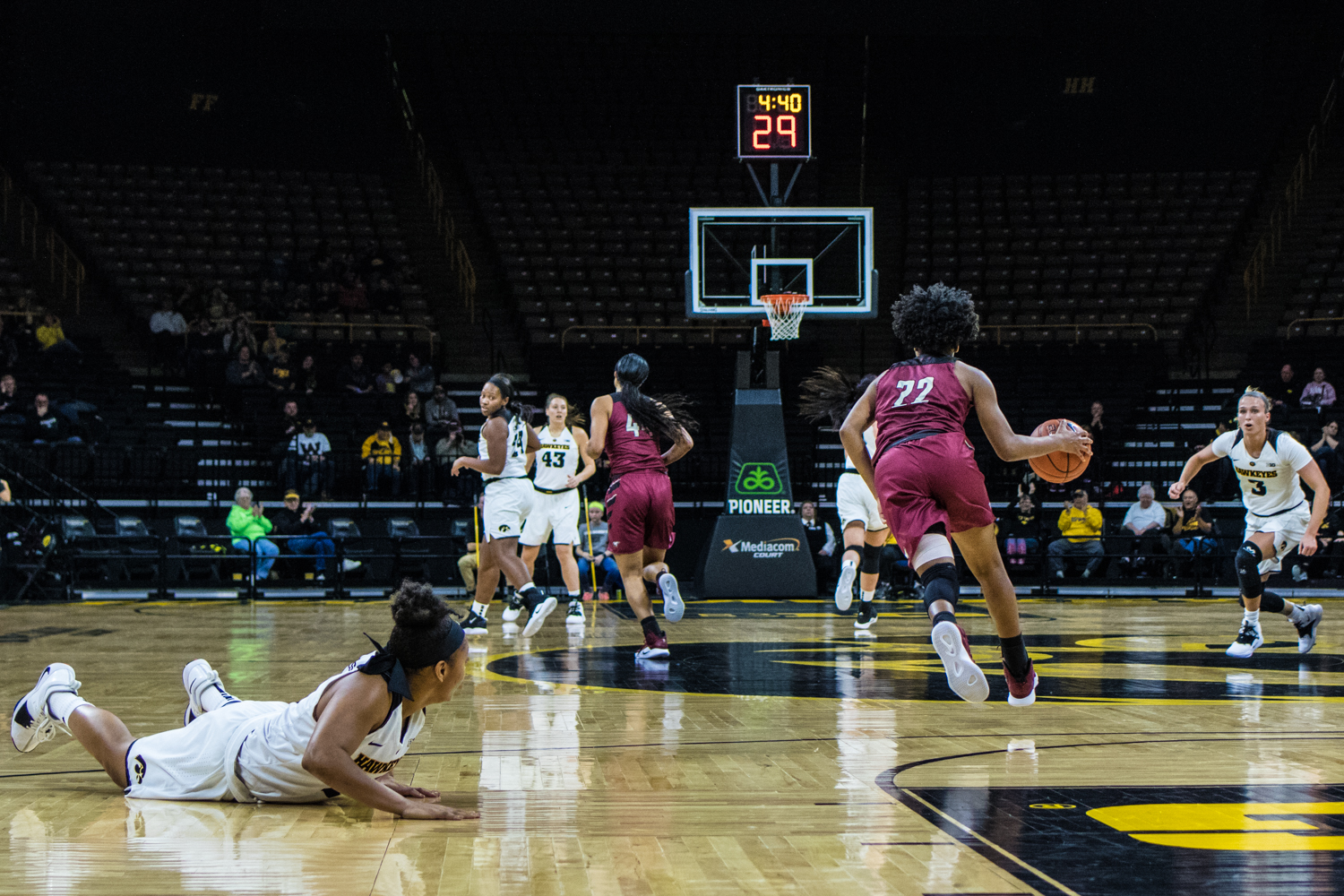 NC+Central+guard+Zaria+Atkins+dribbles+the+ball+during+a+women%27s+basketball+game+between+Iowa+and+North+Carolina+Central+at+Carver-Hawkeye+Arena+on+Saturday%2C+Nov.+17%2C+2018.+The+Hawkeyes+devastated+the+visiting+Eagles%2C+106-39.