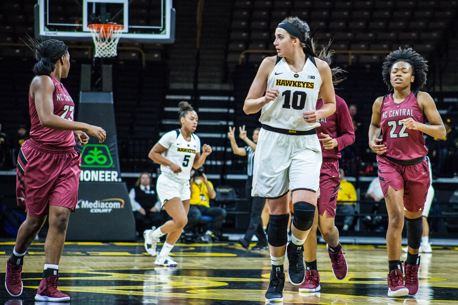 Iowa center Megan Gustafson runs during a women's basketball game between Iowa and North Carolina Central at Carver-Hawkeye Arena on Saturday, Nov. 17, 2018. The Hawkeyes devastated the visiting Eagles, 106-39.