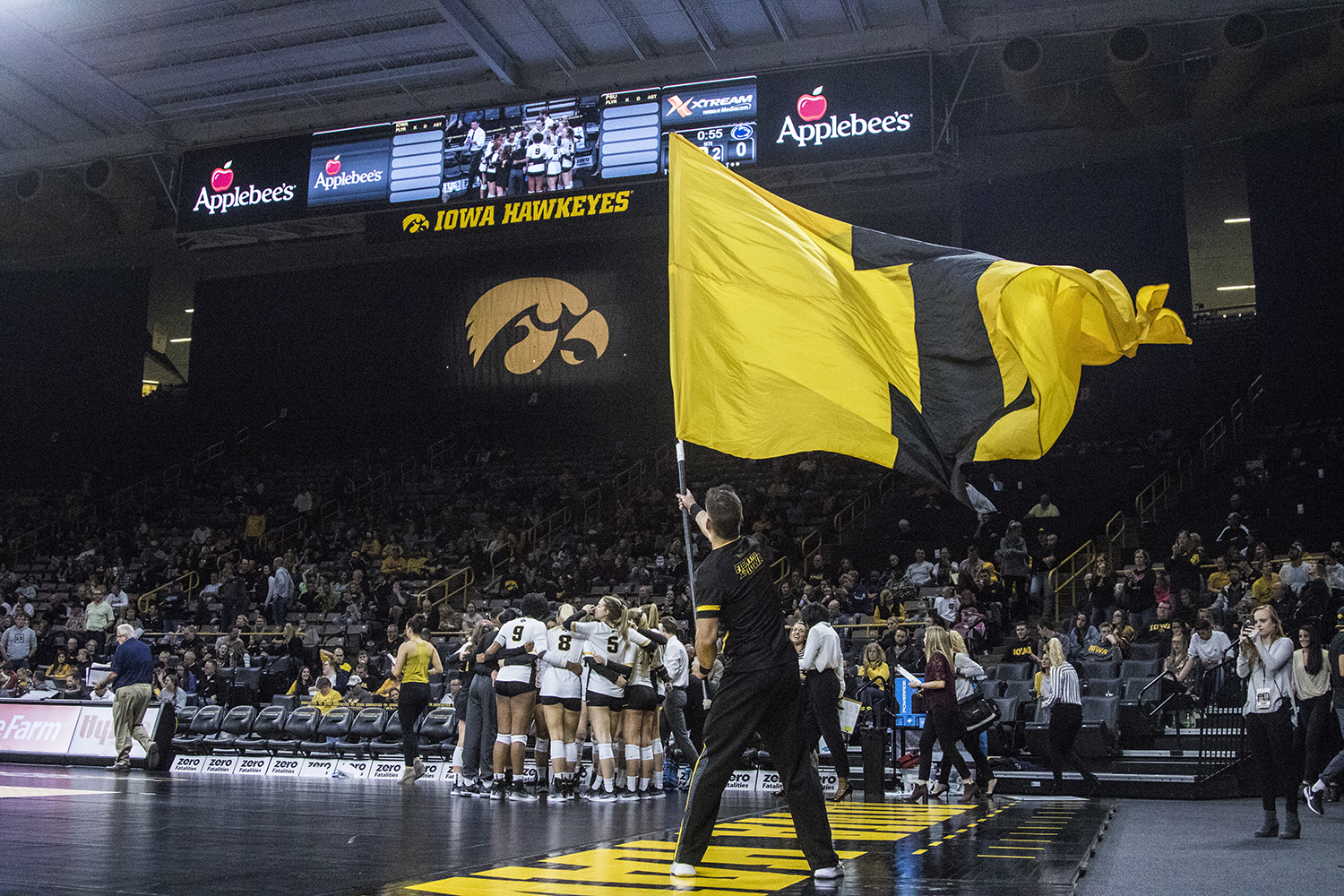 Iowa+spirit+squads+pump+up+the+crowd+during+a+volleyball+match+between+Iowa+and+Penn+State+at+Carver-Hawkeye+Arena+on+Saturday%2C+Nov.+3%2C+2018.+The+Hawkeyes+were+shut+out+by+the+Nittany+Lions%2C+3-0.