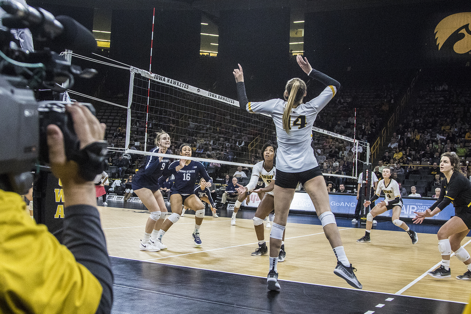 Iowa junior Cali Hoye prepares to spike the ball during a volleyball match between Iowa and Penn State at Carver-Hawkeye Arena on Saturday, Nov. 3, 2018. The Hawkeyes were shut out by the Nittany Lions, 3-0.