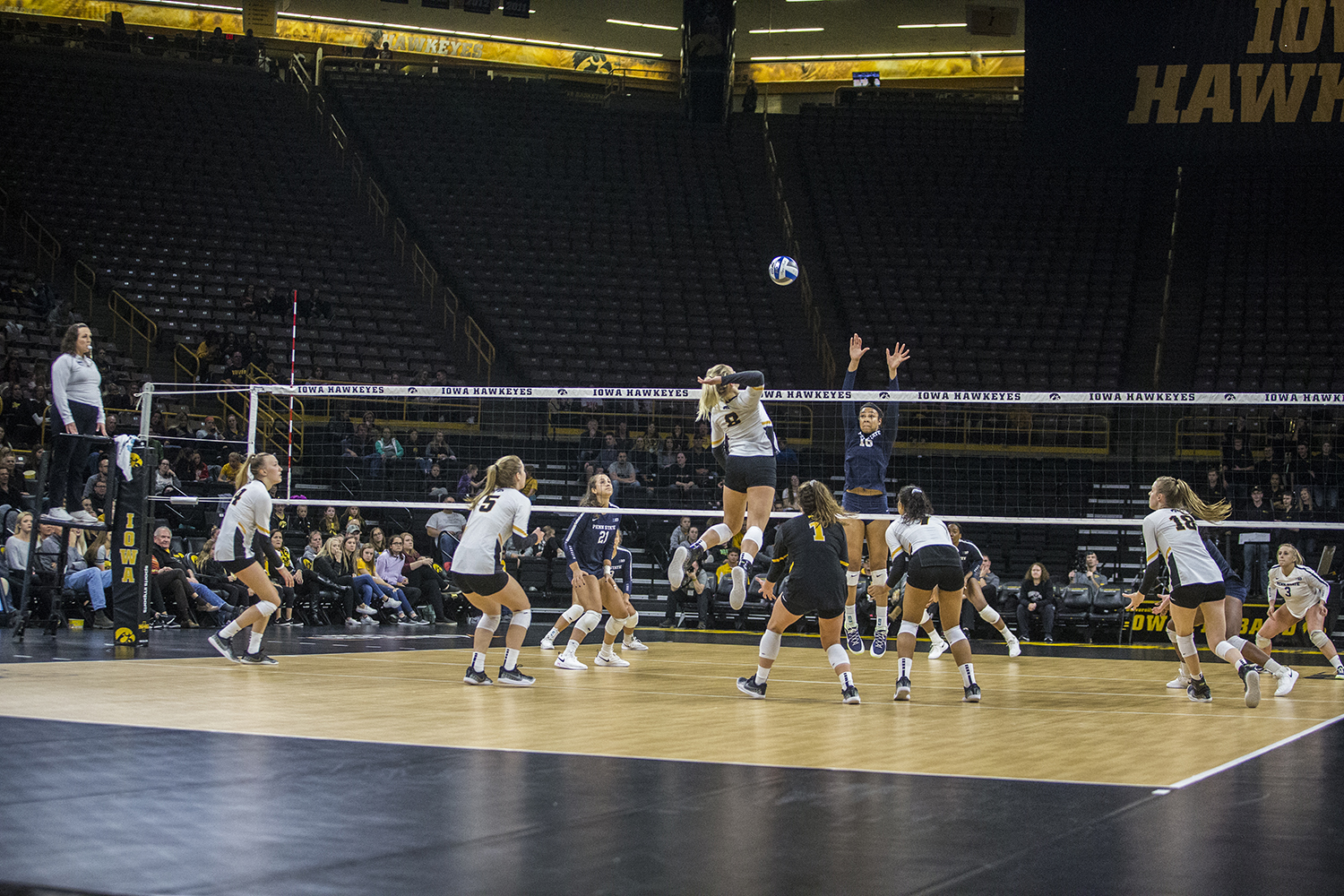 Iowa+senior+Reghan+Coyle+prepares+to+spike+the+ball+during+a+volleyball+match+between+Iowa+and+Penn+State+at+Carver-Hawkeye+Arena+on+Saturday%2C+Nov.+3%2C+2018.+The+Hawkeyes+were+shut+out+by+the+Nittany+Lions%2C+3-0.