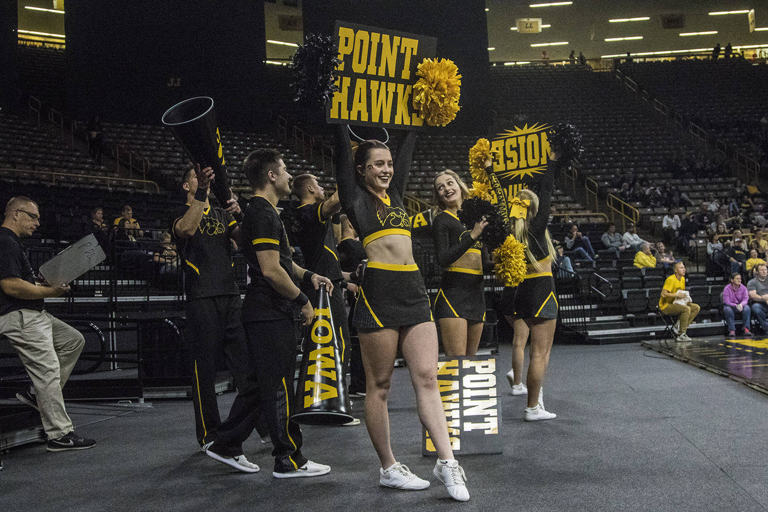 Iowa+cheerleaders+pump+up+the+crowd+during+a+volleyball+match+between+Iowa+and+Penn+State+at+Carver-Hawkeye+Arena+on+Saturday%2C+Nov.+3%2C+2018.+The+Hawkeyes+were+shut+out+by+the+Nittany+Lions%2C+3-0.