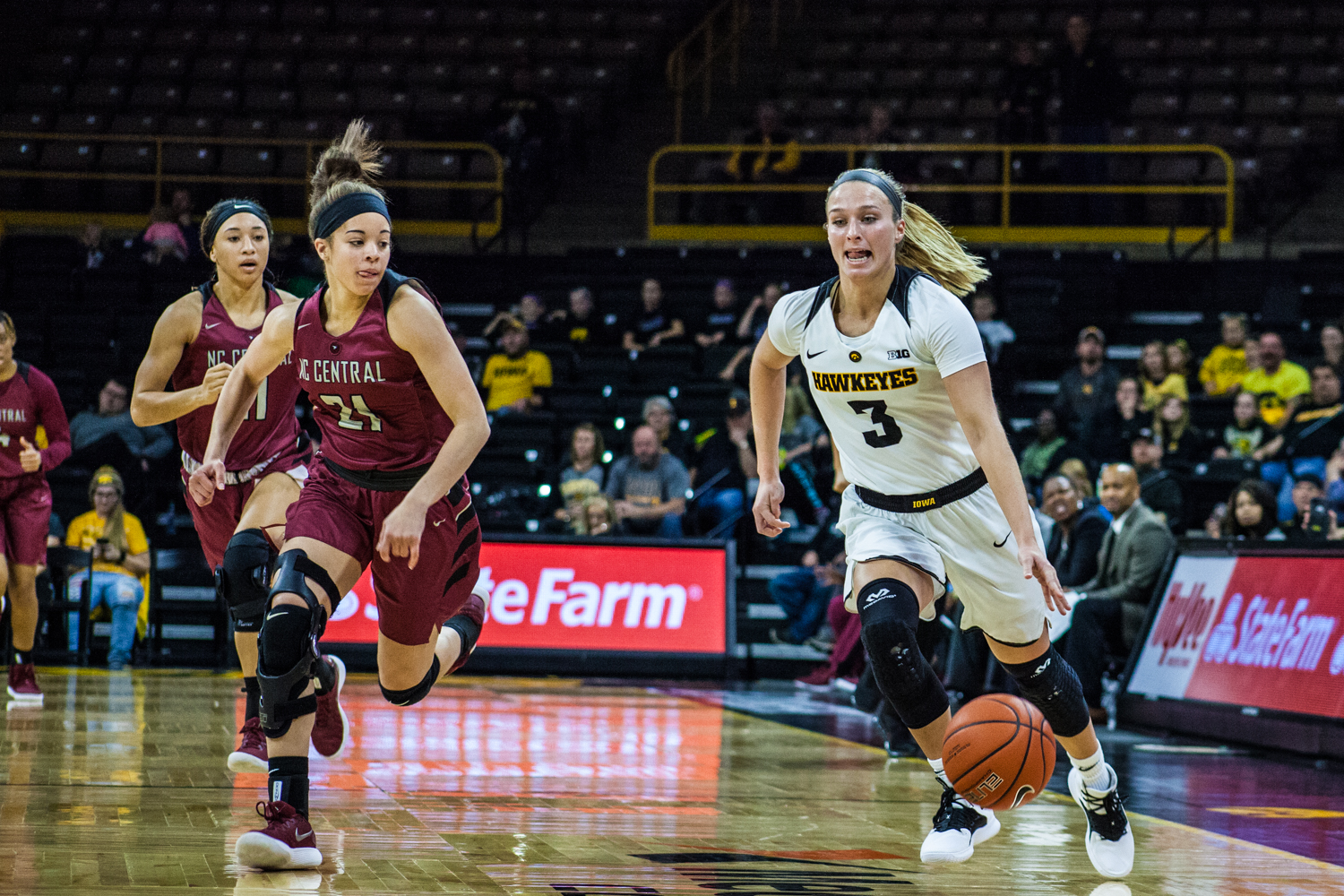 Iowa+guard+Makenzie+Meyer+dribbles+past+the+defense+during+a+women%27s+basketball+game+between+Iowa+and+North+Carolina+Central+at+Carver-Hawkeye+Arena+on+Saturday%2C+Nov.+17%2C+2018.+The+Hawkeyes+devastated+the+visiting+Eagles%2C+106-39.+