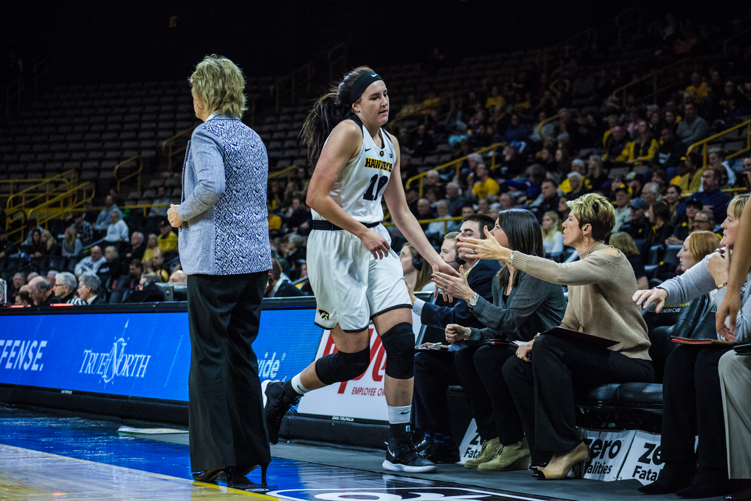 Iowa+center+Megan+Gustafson+runs+to+the+bench+during+a+women%27s+basketball+game+between+Iowa+and+North+Carolina+Central+at+Carver-Hawkeye+Arena+on+Saturday%2C+Nov.+17%2C+2018.+The+Hawkeyes+devastated+the+visiting+Eagles%2C+106-39.+