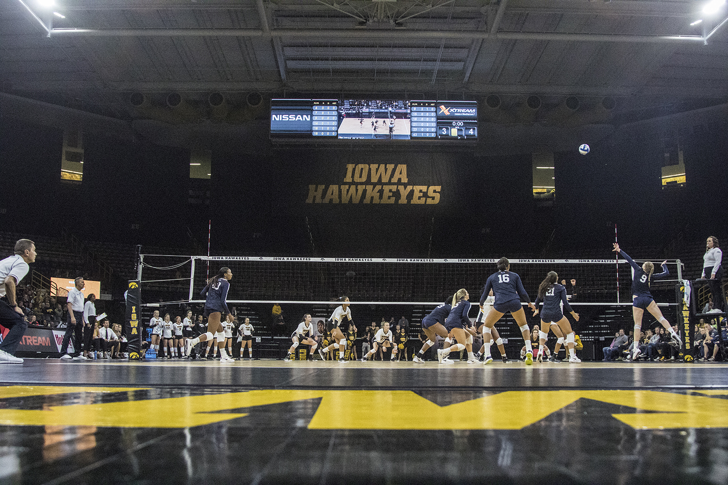 Penn+State+freshman+Jonni+Parker+prepares+to+spike+the+ball+during+a+volleyball+match+between+Iowa+and+Penn+State+at+Carver-Hawkeye+Arena+on+Saturday%2C+Nov.+3%2C+2018.+The+Hawkeyes+were+shut+out+by+the+Nittany+Lions%2C+3-0.