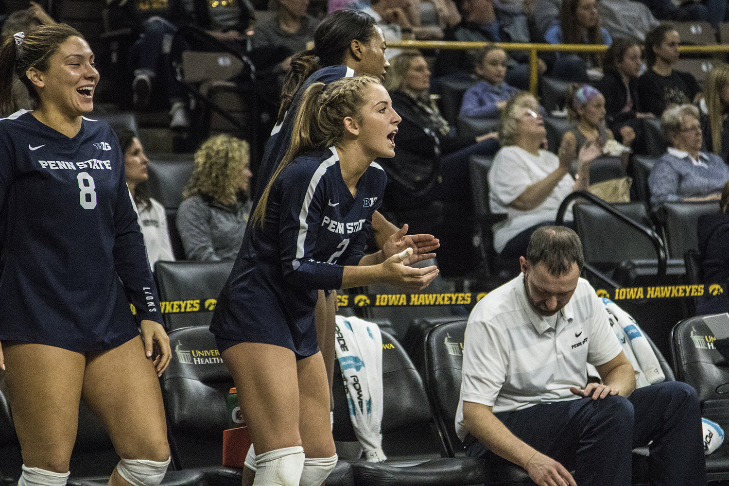 Penn+State+junior+Emily+Sciorra+cheers+on+her+team+during+a+volleyball+match+between+Iowa+and+Penn+State+at+Carver-Hawkeye+Arena+on+Saturday%2C+Nov.+3%2C+2018.+The+Hawkeyes+were+shut+out+by+the+Nittany+Lions%2C+3-0.