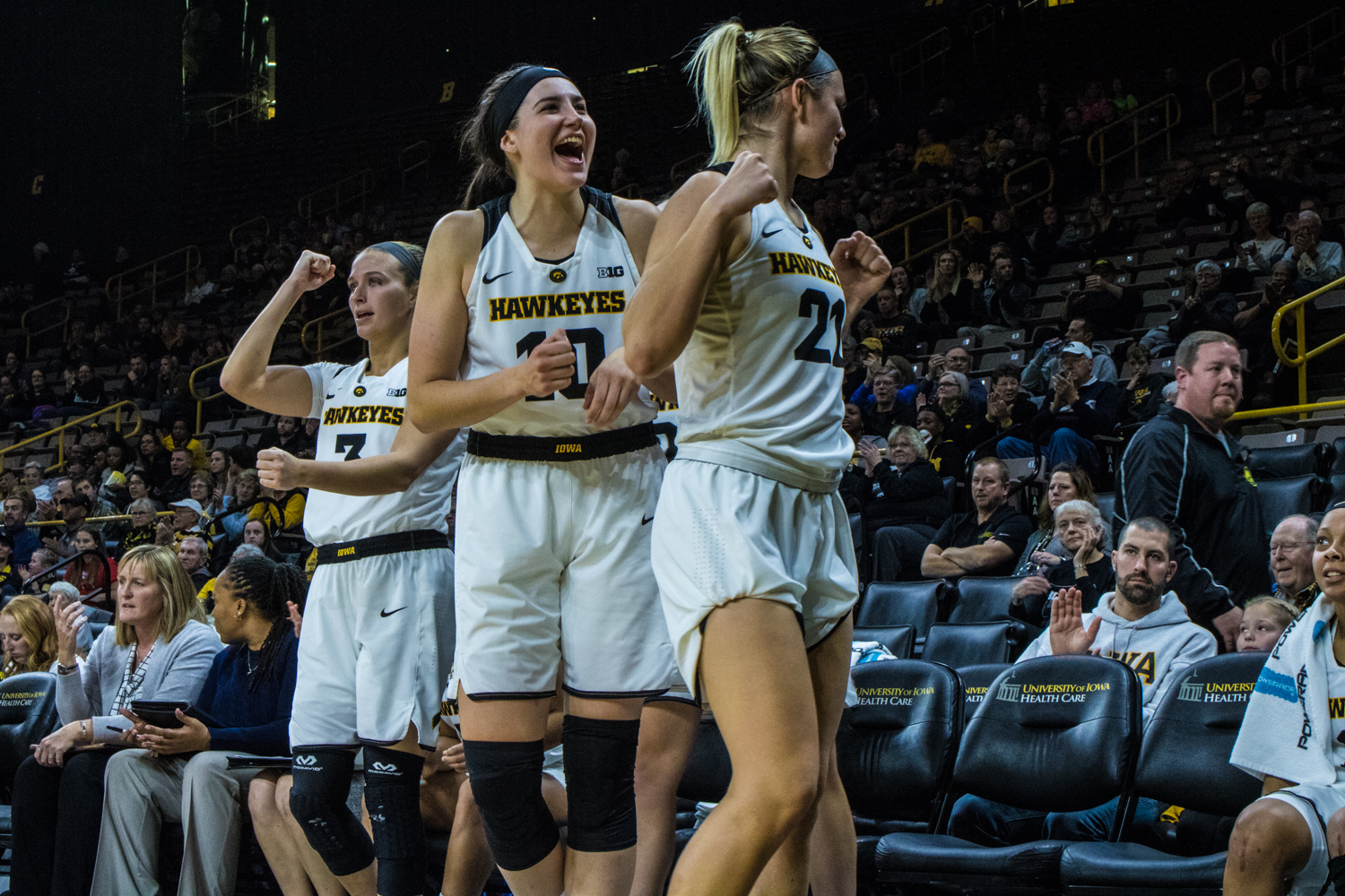 Iowa+players+celebrate+on+the+bench+during+a+women%27s+basketball+game+between+Iowa+and+North+Carolina+Central+at+Carver-Hawkeye+Arena+on+Saturday%2C+Nov.+17%2C+2018.+The+Hawkeyes+devastated+the+visiting+Eagles%2C+106-39.+