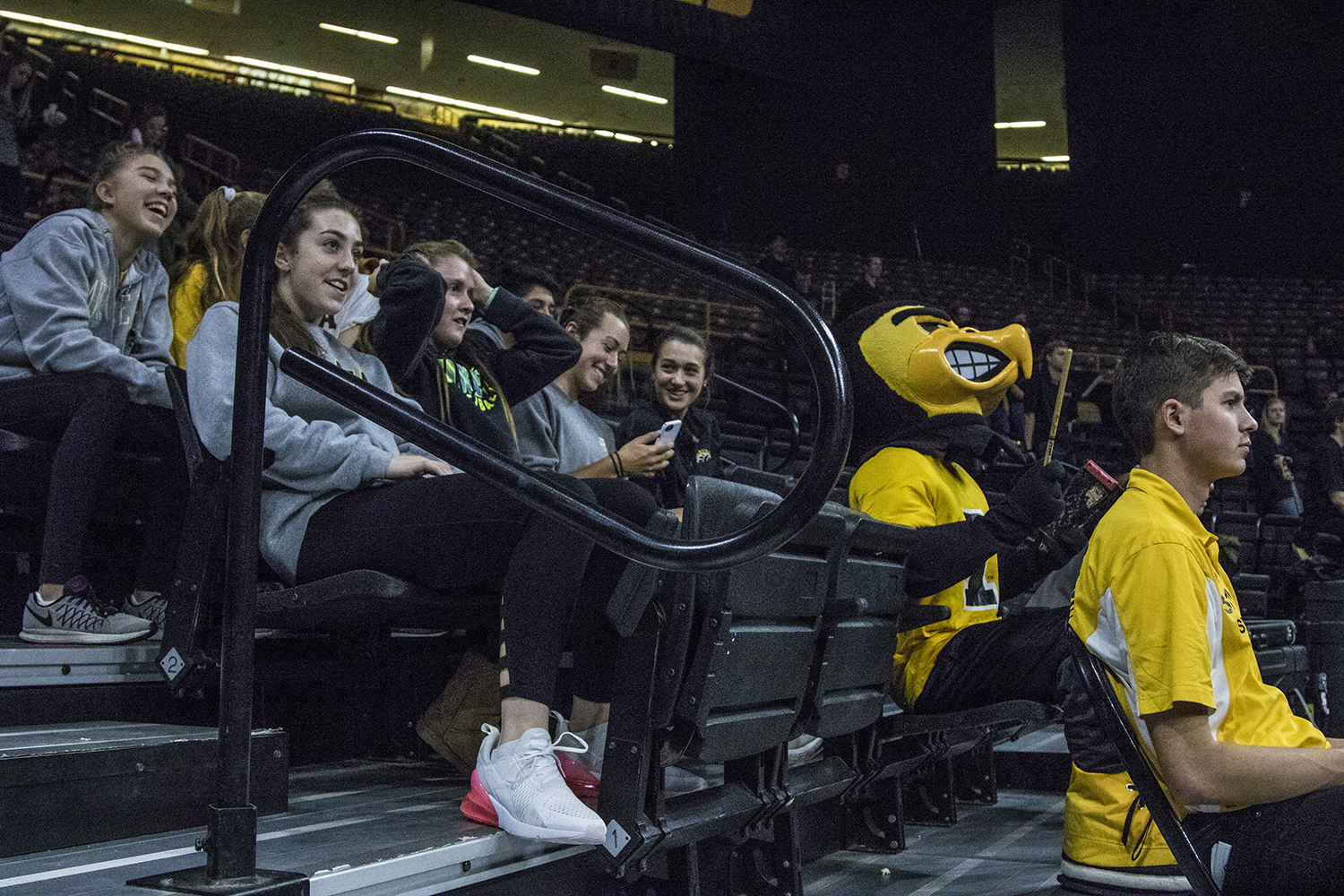 Herky+sits+alongside+fans+during+a+volleyball+match+between+Iowa+and+Penn+State+at+Carver-Hawkeye+Arena+on+Saturday%2C+Nov.+3%2C+2018.+The+Hawkeyes+were+shut+out+by+the+Nittany+Lions%2C+3-0.