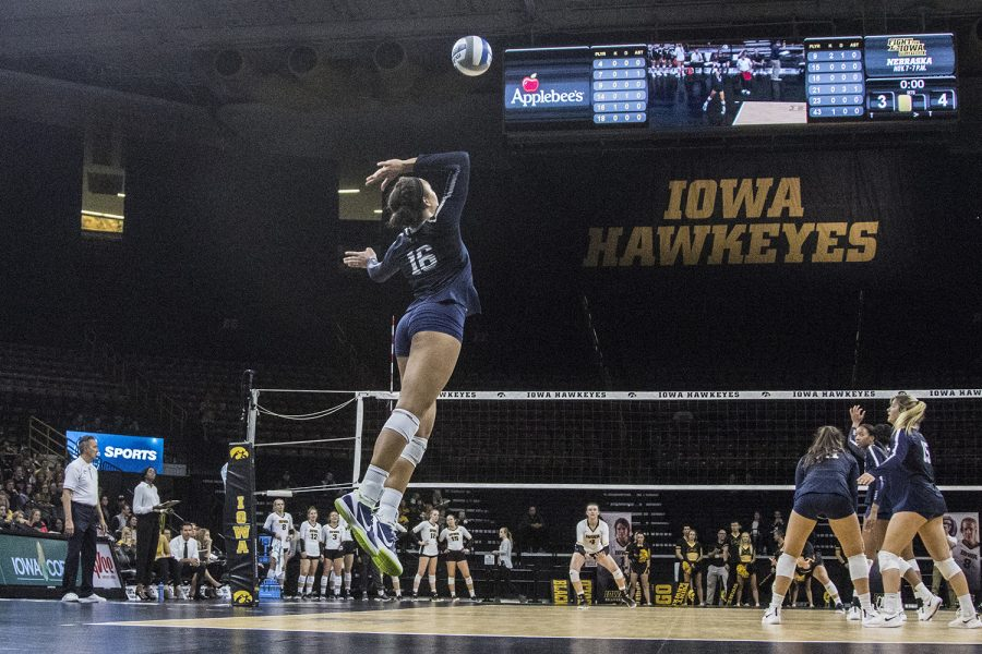 Penn+State+freshman+Serena+Gray+serves+during+a+volleyball+match+between+Iowa+and+Penn+State+at+Carver-Hawkeye+Arena+on+Saturday%2C+Nov.+3%2C+2018.+The+Hawkeyes+were+shut+out+by+the+Nittany+Lions%2C+3-0.