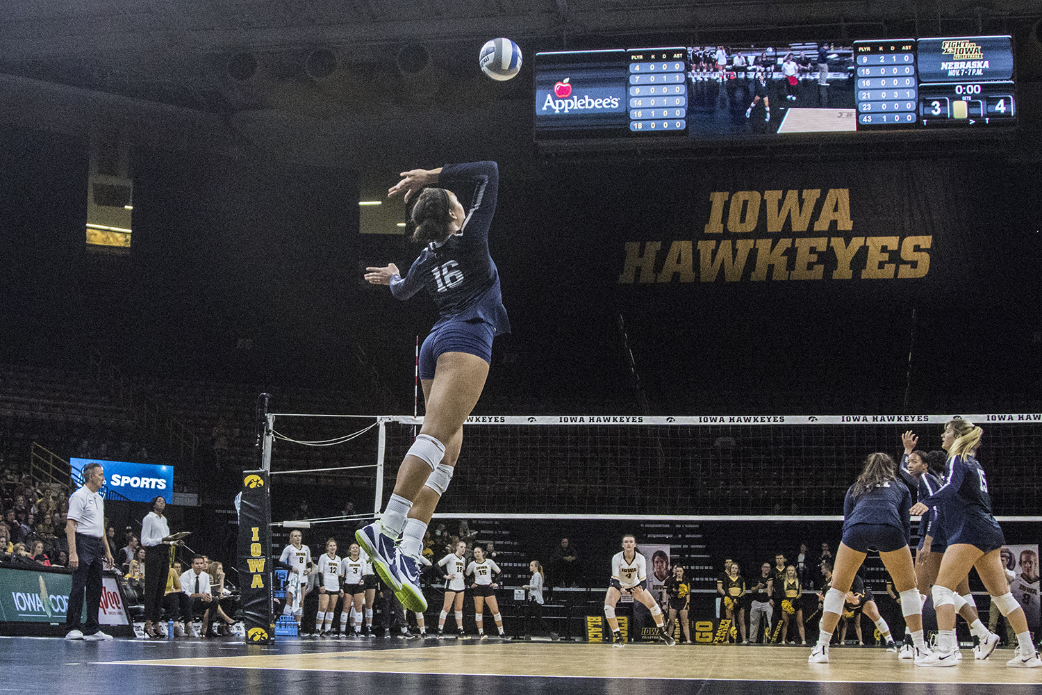 Penn State freshman Serena Gray serves during a volleyball match between Iowa and Penn State at Carver-Hawkeye Arena on Saturday, Nov. 3, 2018. The Hawkeyes were shut out by the Nittany Lions, 3-0.
