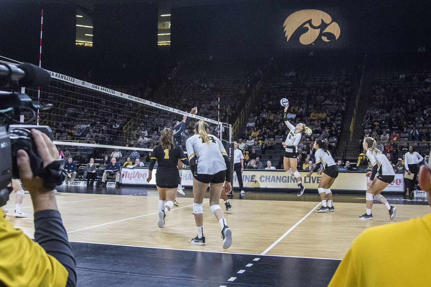 Iowa+senior+Reghan+Coyle+spikes+the+ball+during+a+volleyball+match+between+Iowa+and+Penn+State+at+Carver-Hawkeye+Arena+on+Saturday%2C+Nov.+3%2C+2018.+The+Hawkeyes+were+shut+out+by+the+Nittany+Lions%2C+3-0.