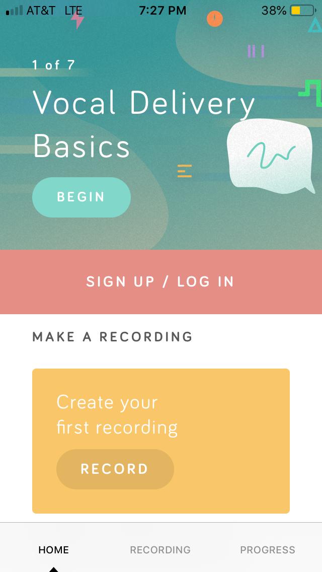 Screenshot of the Speeko app.