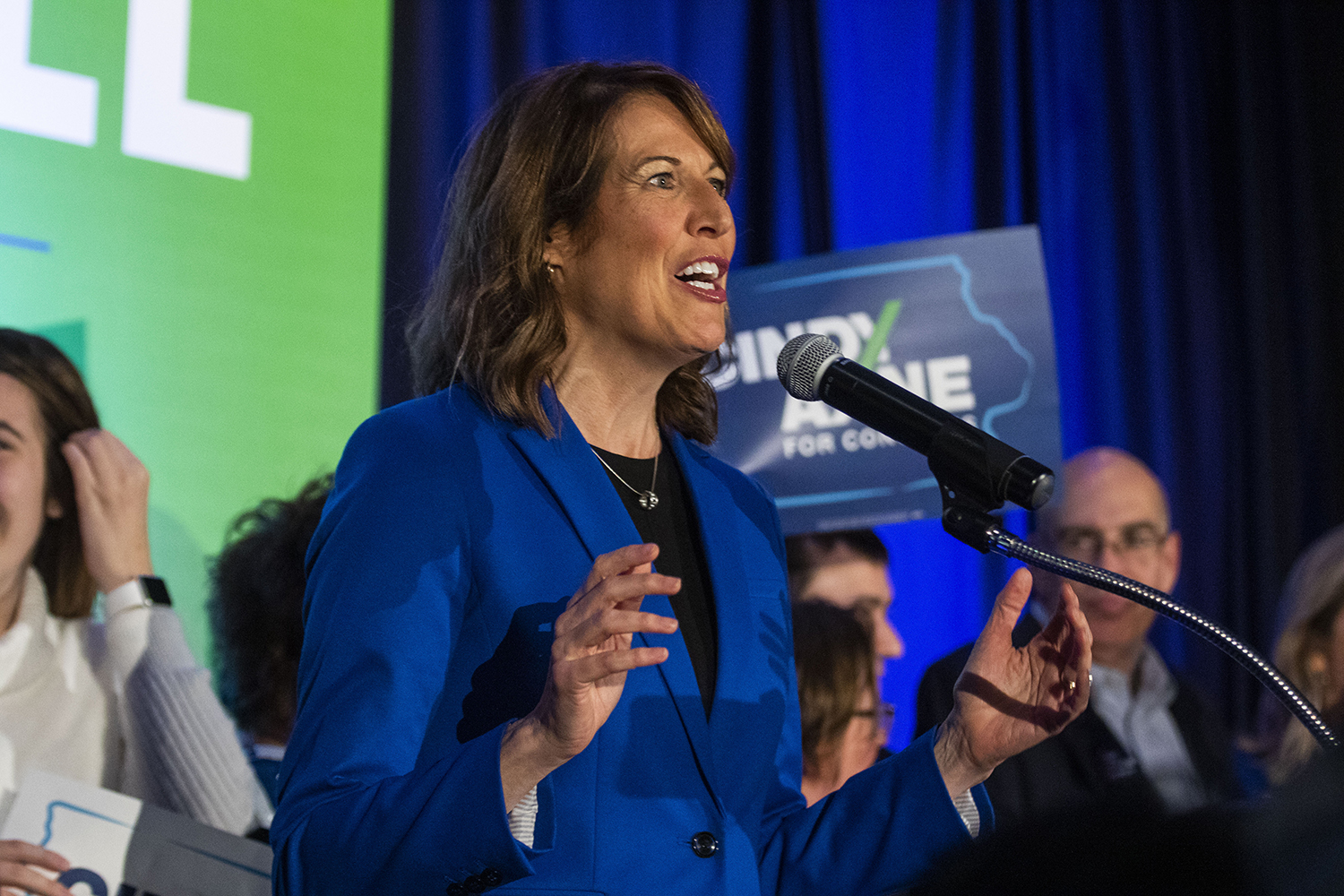 Iowa 3rd Congressional District-elect Cindy Axne speaks to supporters during the statewide Democratic candidates' watch party at Embassy Suites in Des Moines on Nov. 6, 2018.