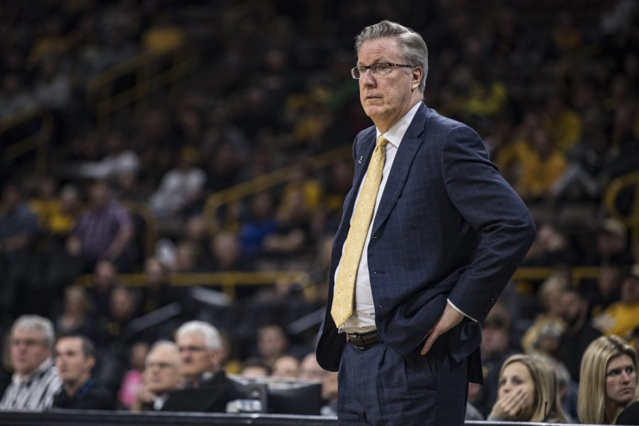 Iowa+head+coach+Fran+McCaffery+looks+on+during+Iowa%27s+game+against+Alabama+State+at+Carver-Hawkeye+Arena+in+Iowa+City+on+Wednesday%2C+November+21%2C+2018.+The+Hawkeyes+defeated+the+Hornets+105-78