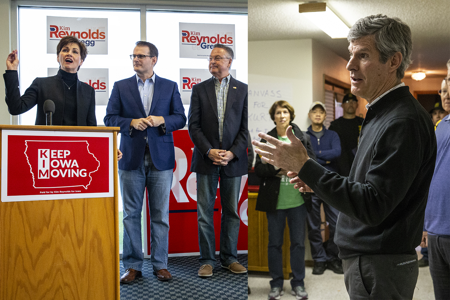 LEFT: Gov. Kim Reynolds speaks during a rally at the Eastern Iowa Airport in Cedar Rapids on Nov. 5 as Lt. Gov. Adam Gregg and Rep. Rod Blum, R-Iowa look on.  RIGHT: Democratic candidate for governor Fred Hubbell speaks to supporters at the home of Janice Weiner on Nov. 5.