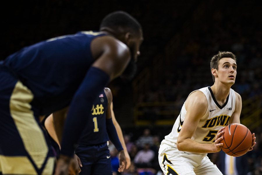 Iowa%27s+Nicholas+Baer+prepares+to+shoot+a+free+throw+during+the+Iowa%2FPittsburgh+basketball+game+at+Carver-Hawkeye+Arena+on+Tuesday%2C+Nov.+27%2C+2018.+The+Hawkeyes+defeated+the+panthers%2C+69-68.+