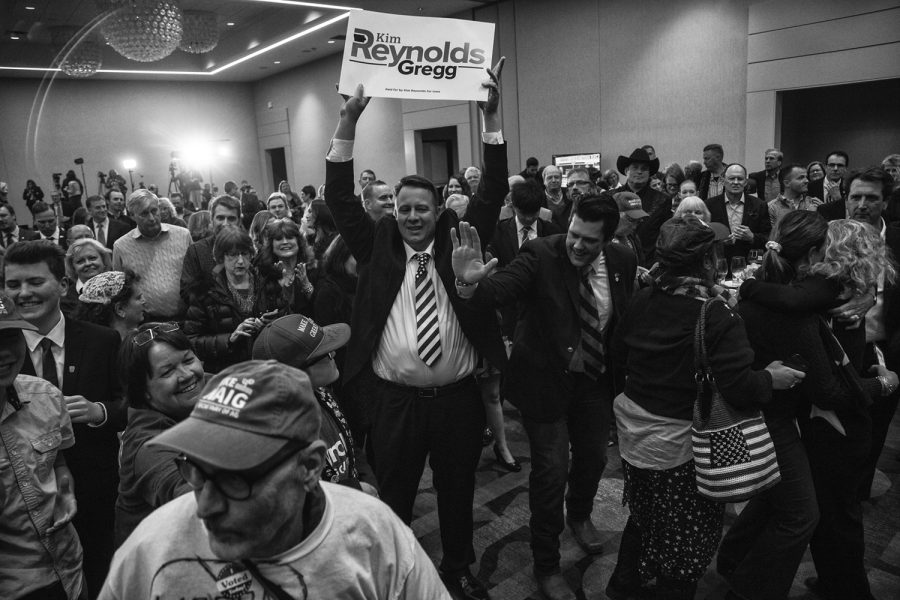 Kim Reynolds supporters celebrate her victory during the Kim Reynolds watch party at the Hilton in Des Moines on Wednesday, November 7, 2018.