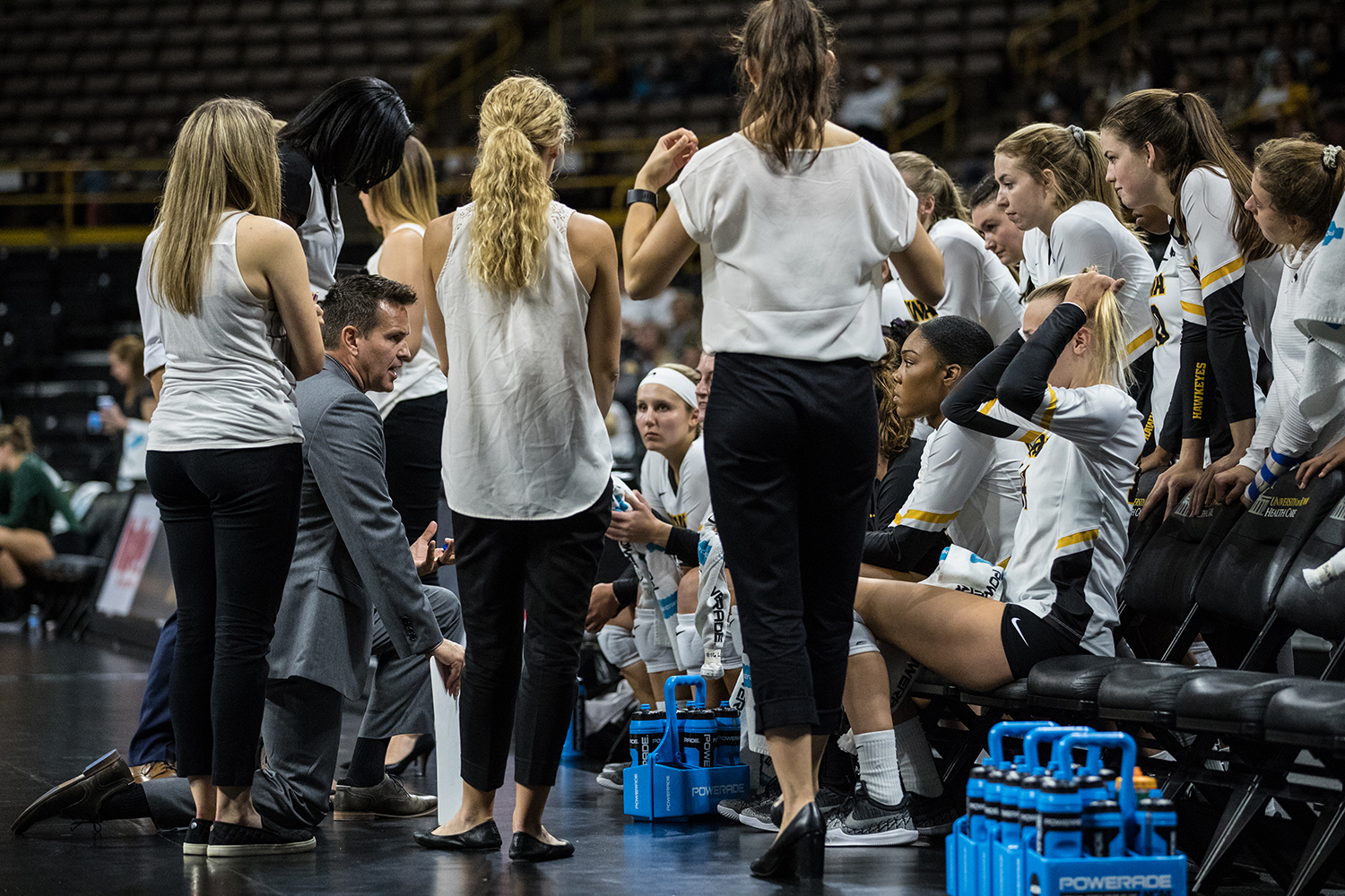 Iowa coach Bond Shymansky coaches the team on a timeout during a volleyball match between Iowa and Michigan State on Friday, Sept. 21, 2018.