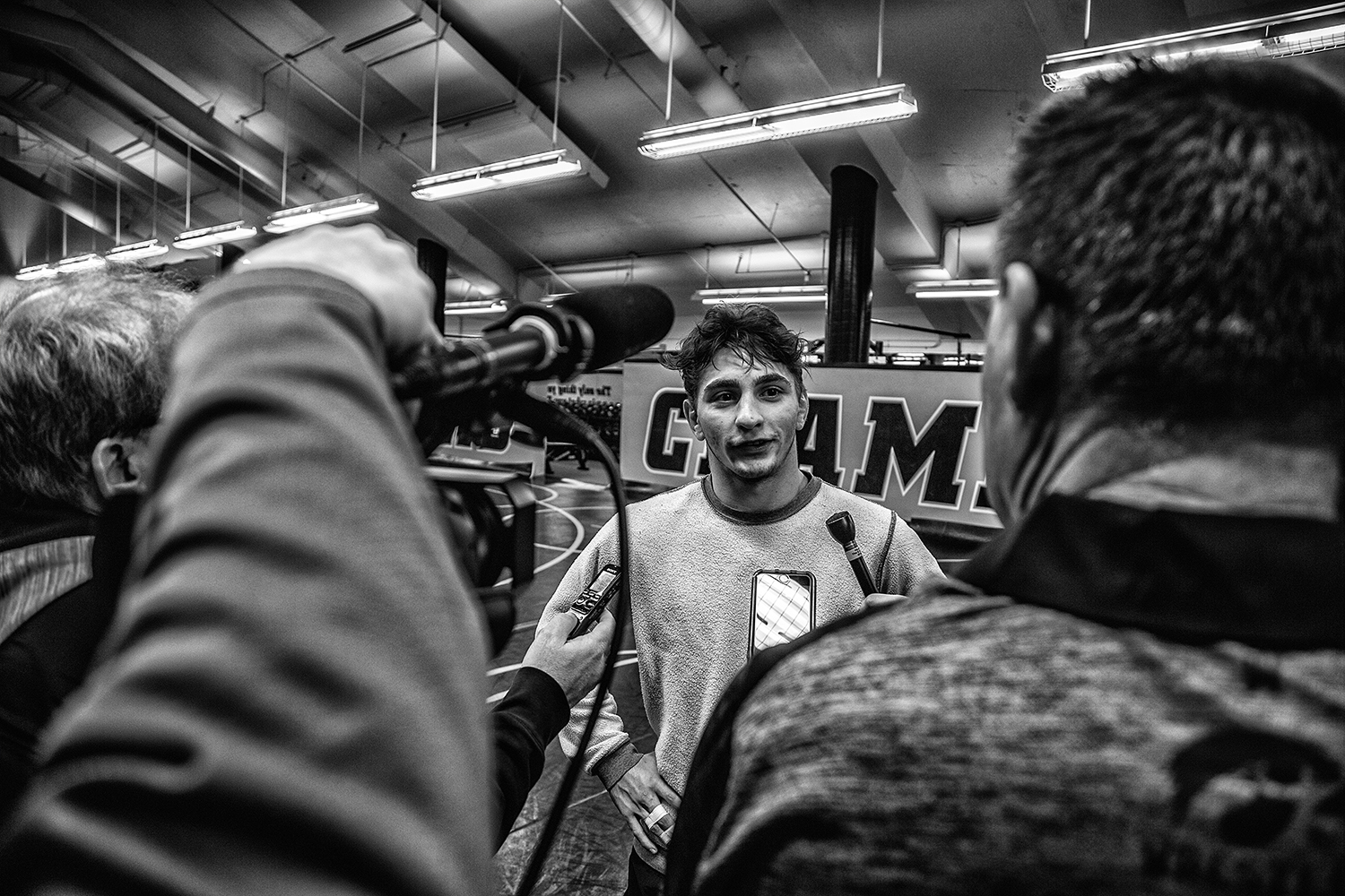 Austin DeSanto answers questions during Wrestling Media Day at the Dan Gable Wrestling Complex on Monday, November 5, 2018. (Shivansh Ahuja/The Daily Iowan)
