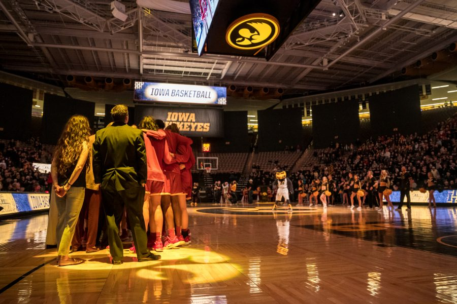 The+Iowa+State+Women%27s+Basketball+team+huddles+up+before+a+game+against+The+University+of+Iowa+at+Carver-Hawkeye+Arena+on+Wednesday%2C+Dec.+5%2C+2018.+The+Hawkeyes+defeated+the+Cyclones+73-70.+