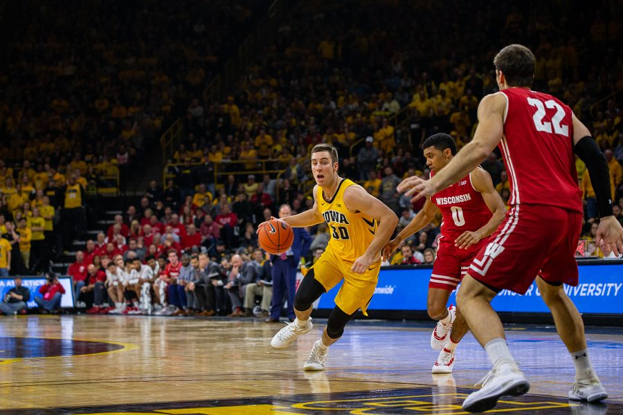 Iowa+guard+Connor+McCaffery+drives+towards+the+basket+during+Iowa%27s+game+against+Wisconsin+at+Carver-Hawkeye+Arena+on+November+30%2C+2018.+The+Hawkeyes+were+defeated+by+the+Badgers+72-66.
