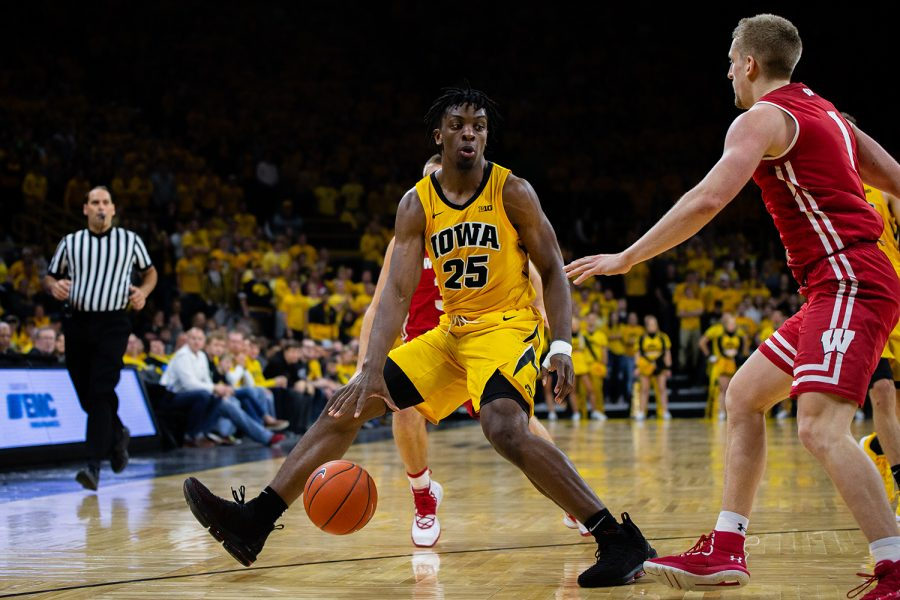 Iowa+forward+Tyler+Cook+dribbles+down+the+baseline+during+Iowa%27s+game+against+Wisconsin+at+Carver-Hawkeye+Arena+on+November+30%2C+2018.+The+Hawkeyes+were+defeated+by+the+Badgers+72-66.