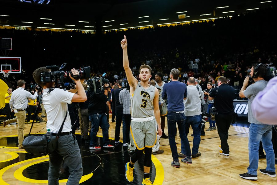 Iowa+guard+Jordan+Bohannon+celebrates+after+Iowas+game+against+Iowa+State+at+Carver-Hawkeye+Arena+on+December+6%2C+2018.+The+Hawkeyes+defeated+the+Cyclones+98-84.