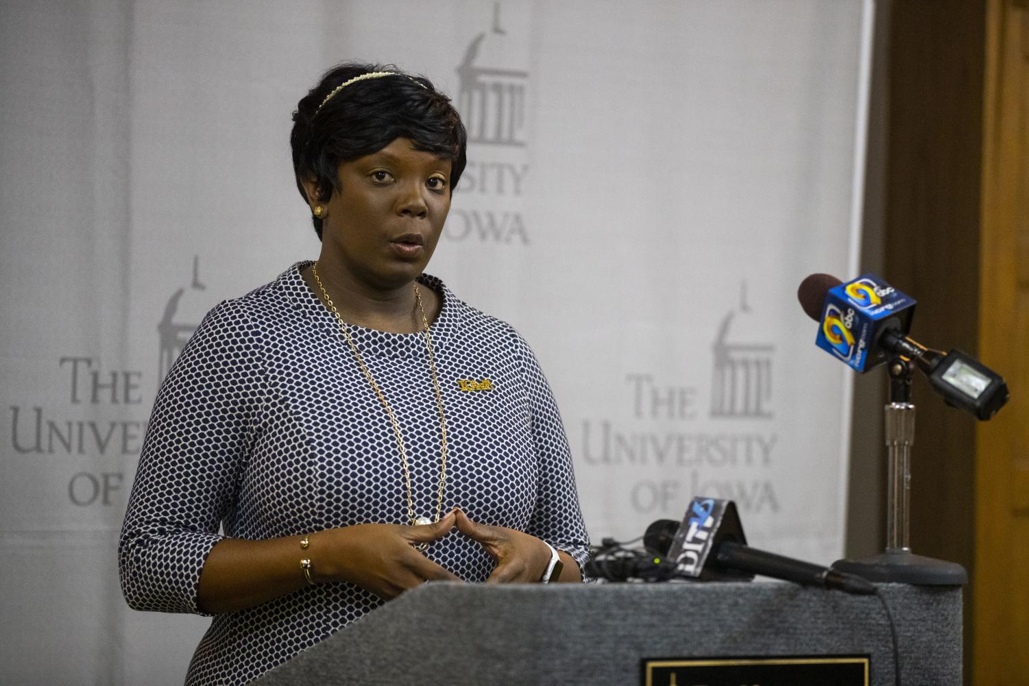 UI Vice President for Student Life Melissa Shivers speaks during a press conference in the IMU on Thursday, Dec. 13, 2018.