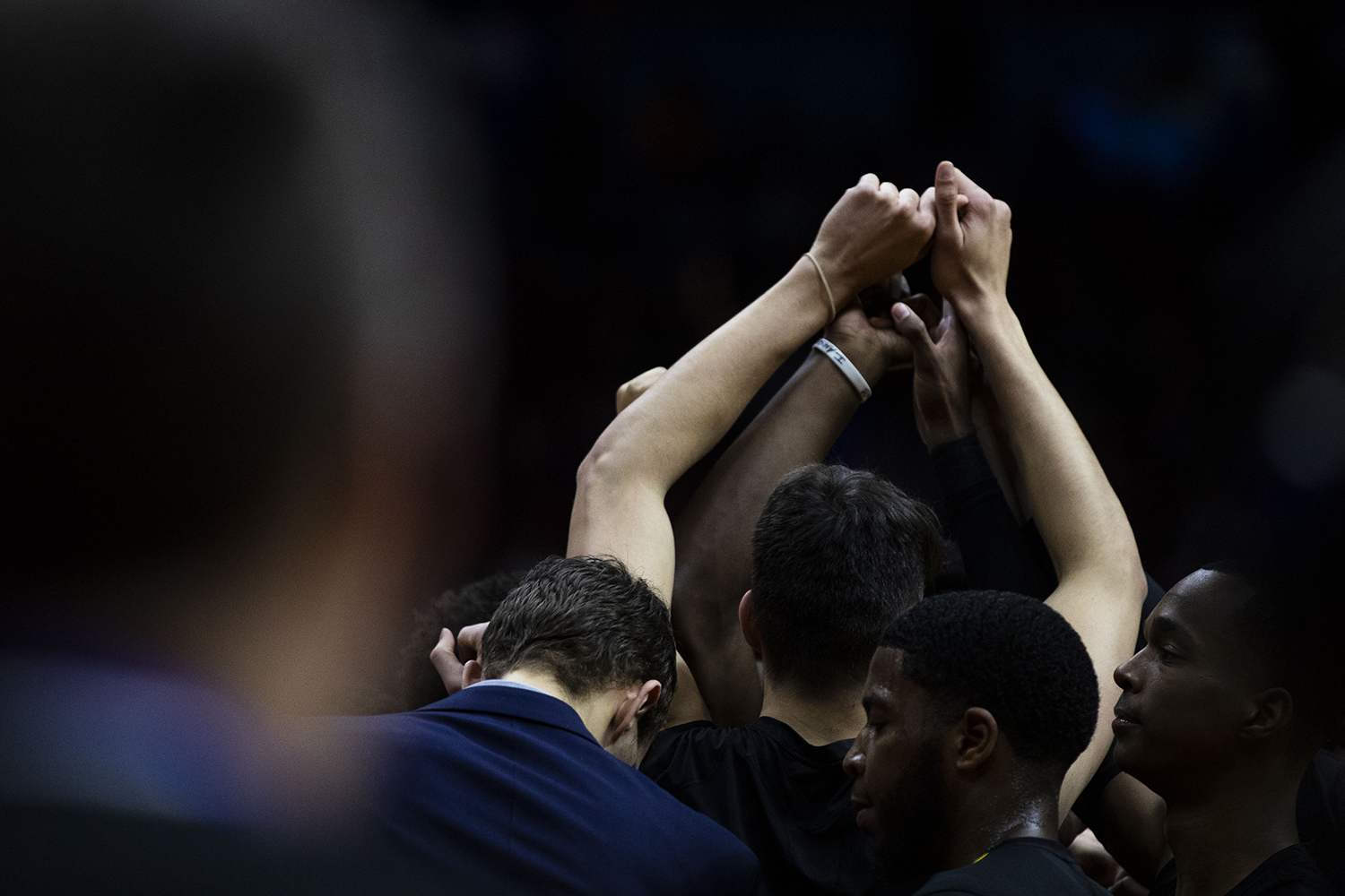 UNI+meets+in+a+huddle+during+the+Iowa%2FUNI+men%27s+basketball+game+at+Wells+Fargo+Arena+in+Des+Moines+on+Saturday%2C+Dec.+15%2C+2018.+The+Hawkeyes+defeated+the+Panthers%2C+77-54.+