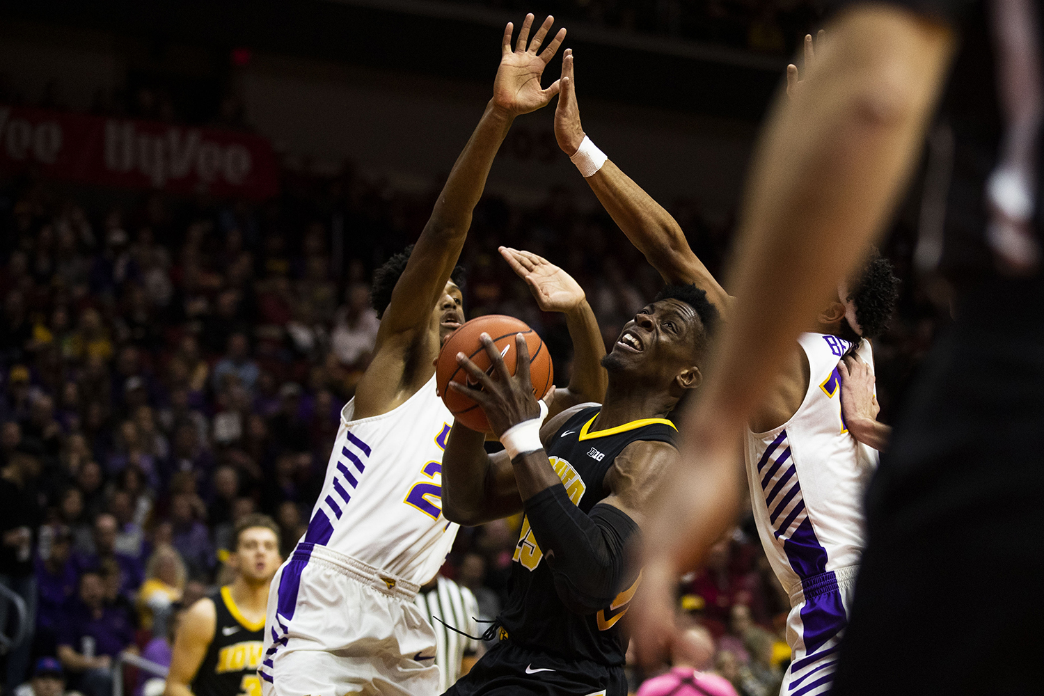 Iowa forward Tyler Cook fights for control of the ball during the Iowa/UNI men's basketball game at Wells Fargo Arena in Des Moines on Saturday, Dec. 15, 2018. The Hawkeyes defeated the Panthers, 77-54.