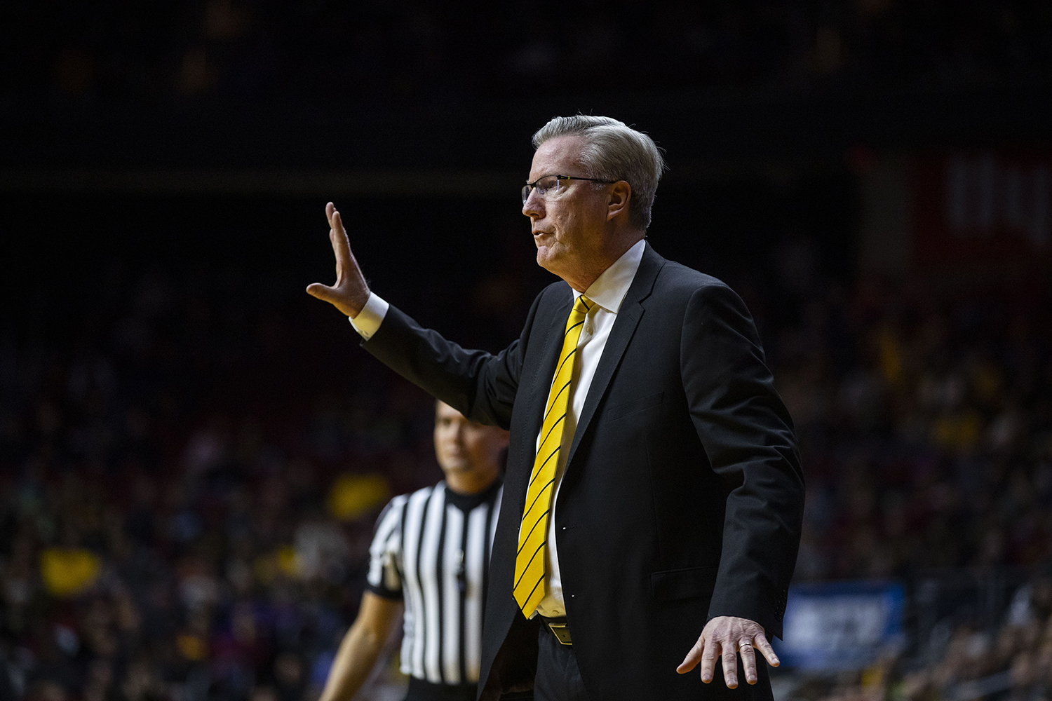 Iowa+head+coach+Fran+McCaffery+gestures+during+the+Iowa%2FUNI+men%27s+basketball+game+at+Wells+Fargo+Arena+in+Des+Moines+on+Saturday%2C+Dec.+15%2C+2018.+The+Hawkeyes+defeated+the+Panthers%2C+77-54.+