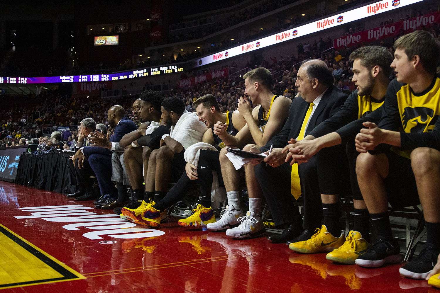 Iowa%27s+Jordan+Bohannon+laughs+at+Joe+Wieskamp%27s+joke+during+the+Iowa%2FUNI+men%27s+basketball+game+at+Wells+Fargo+Arena+in+Des+Moines+on+Saturday%2C+Dec.+15%2C+2018.+The+Hawkeyes+defeated+the+Panthers%2C+77-54.+
