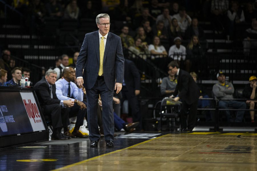 Iowa+head+coach+Fran+McCaffery+watches+the+game+during+the+men%27s+basketball+game+against+Western+Carolina+at+Carver-Hawkeye+Arena+on+Tuesday%2C+December+18%2C+2018.+The+Hawkeyes+defeated+the+Catamounts+78-60.
