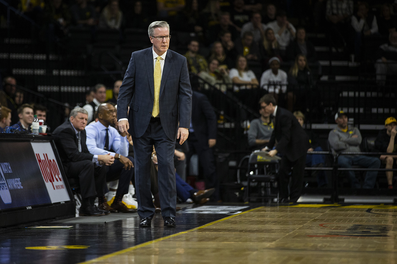 Iowa head coach Fran McCaffery watches the game during the men's basketball game against Western Carolina at Carver-Hawkeye Arena on Tuesday, December 18, 2018. The Hawkeyes defeated the Catamounts 78-60.