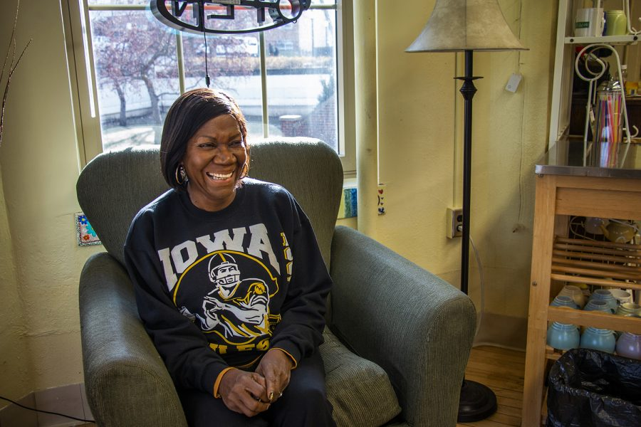 Bernadine Franks, a 67-year-old upcoming UI graduate, poses for a portrait in Wild Bill's Coffeeshop on Tuesday, December 12, 2018. Franks made a promise to her mother she would graduate college and now she is earning a degree in social work.