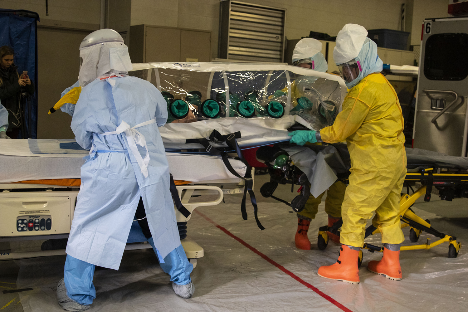 UI Hospitals and Clinics holds an emergency response exercise at the UIHC Ambulance Bay on Tuesday, Dec. 11, 2018. The goal of the response exercise was to prepare for use of the biocontainment unit.