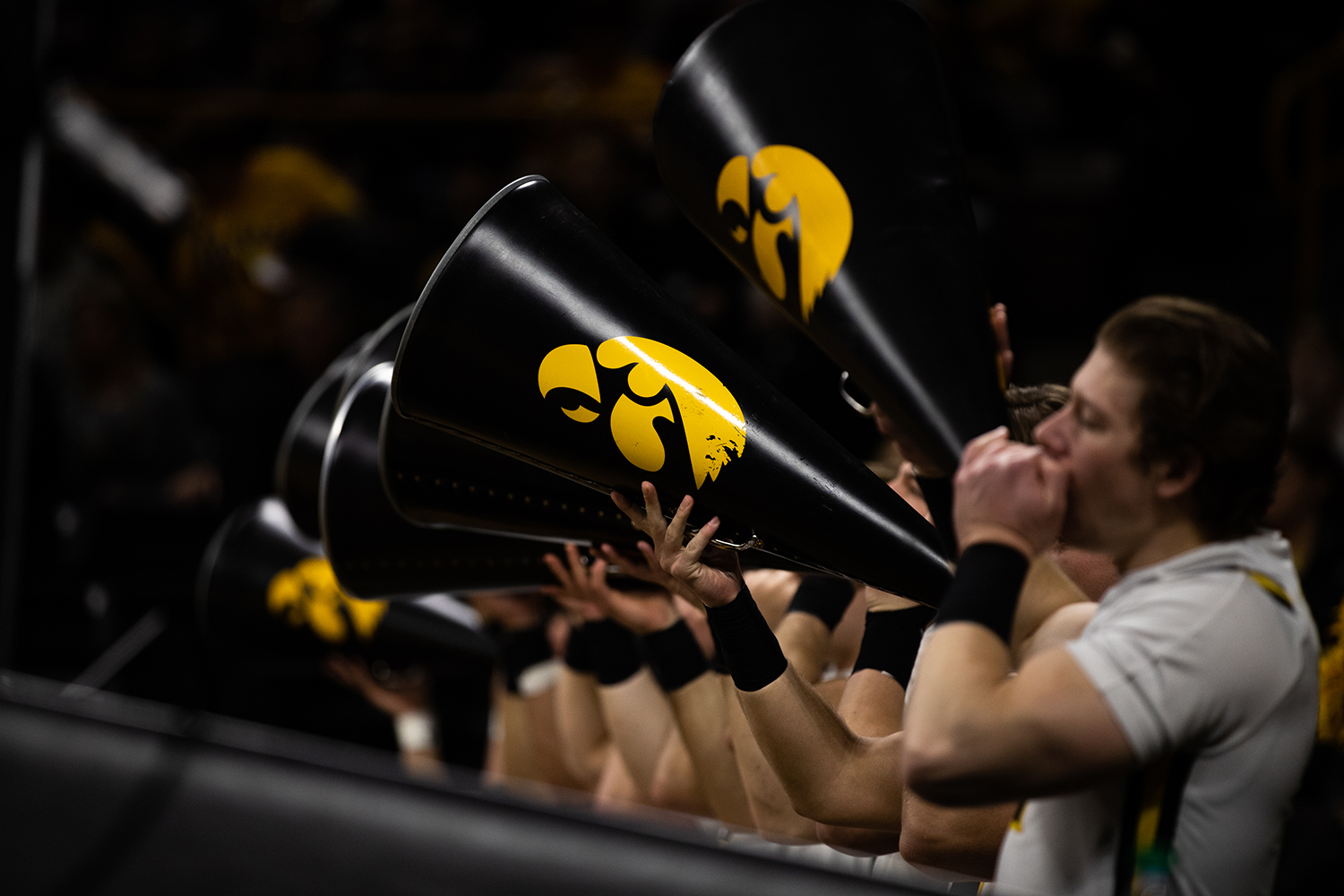 The+spirit+squad+cheers+on+the+team+during+the+men%27s+basketball+game+against+Savannah+State+at+Carver-Hawkeye+Arena+on+Tuesday%2C+December+22%2C+2018.+The+Hawkeyes+defeated+the+Tigers+110-64.