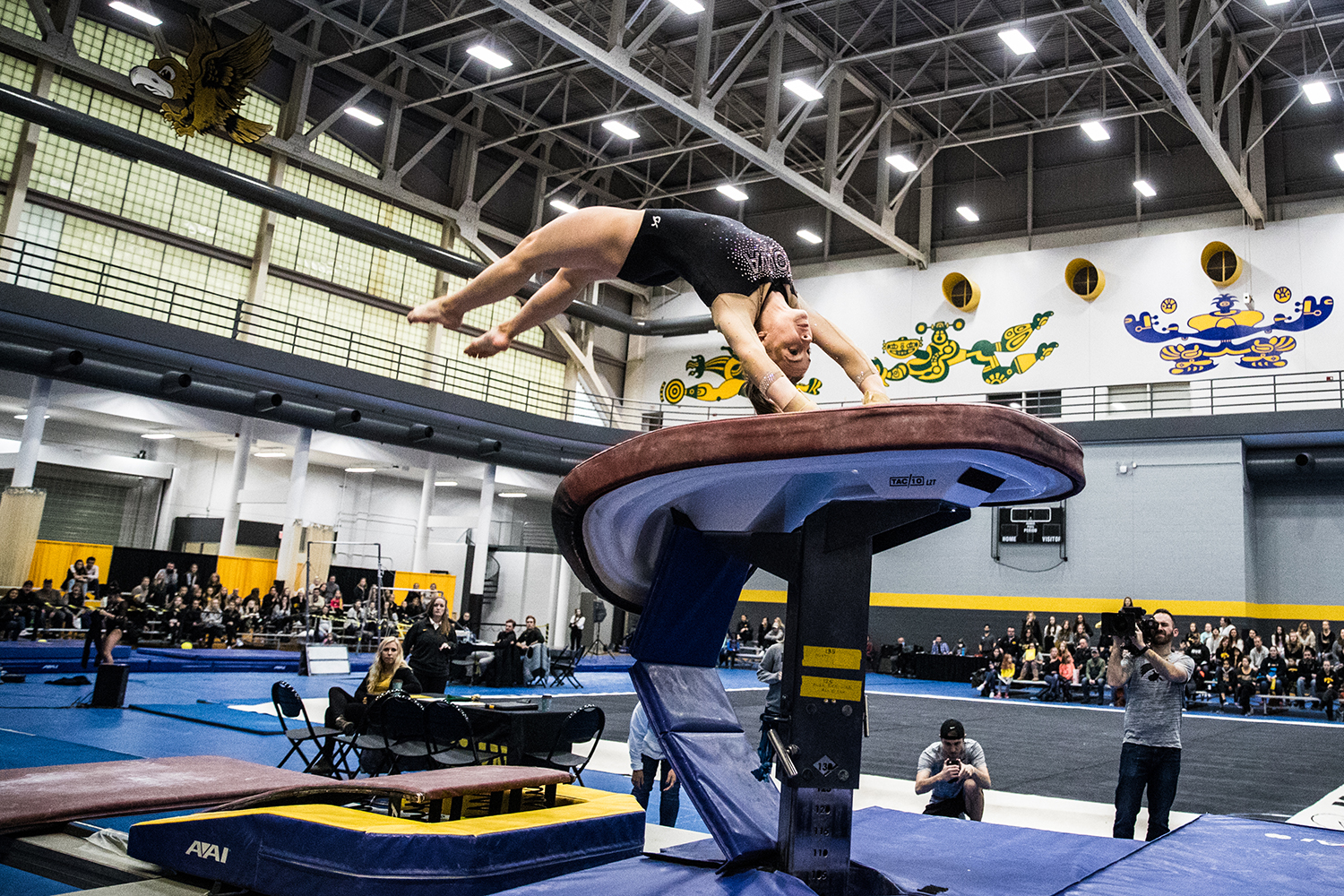 Iowa's Lauren Guerin performs on the vault during the Women's Gymnastics Black and Gold Intrasquad Meet in the Field House on Saturday, Dec. 1, 2018. (Shivansh Ahuja/The Daily Iowan)