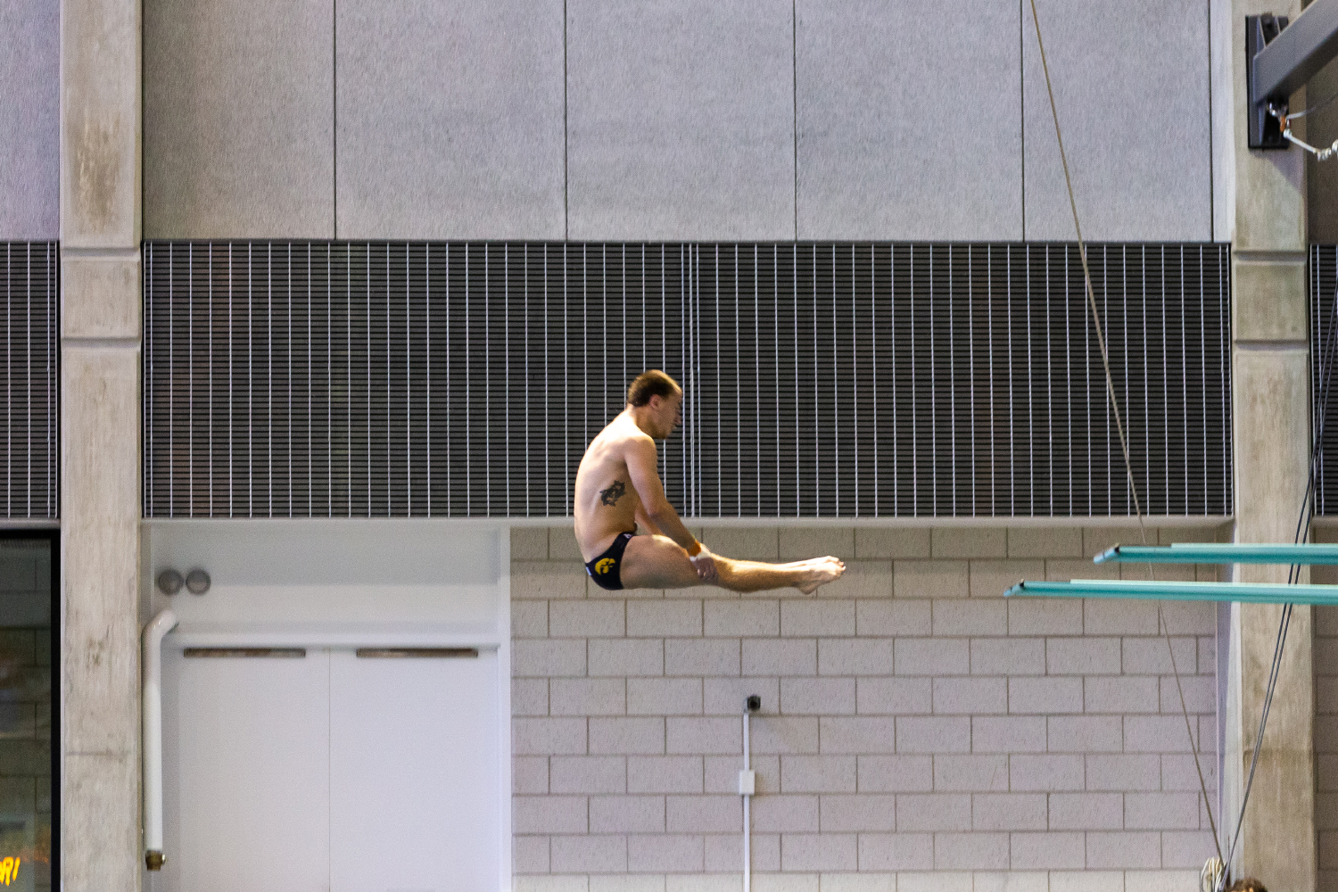 Iowa diver Anton Hoherz dives off the three-meter board in the preliminary diving rounds of the Hawkeye Invitational on Thursday, Nov. 15, 2018. (David Harmantas/The Daily Iowan)