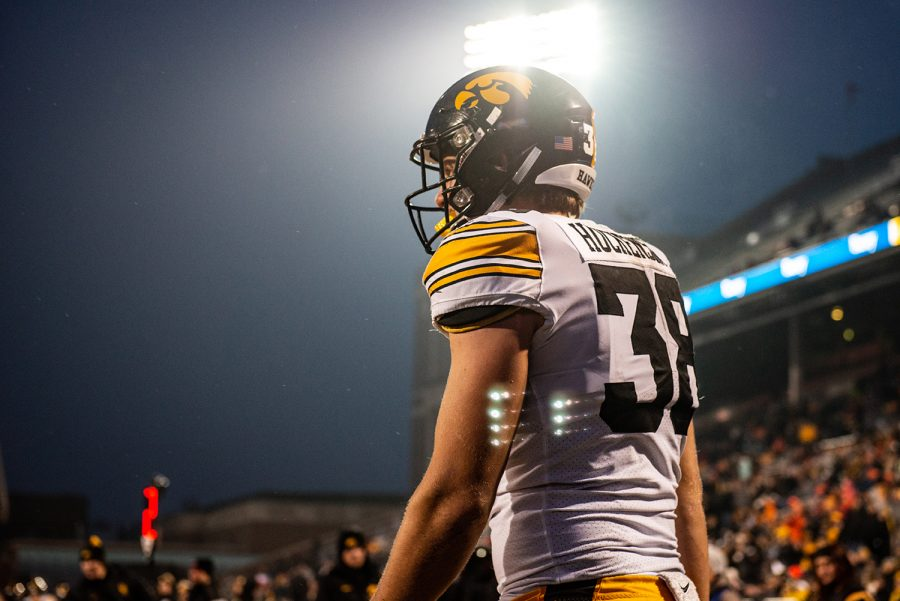 Iowa T.J. Hoeckenson walks back onto the field during Iowas game against Illinois at Memorial Stadium in Champaign on Saturday, Nov. 17, 2018. The Hawkeyes defeated the Fighting Illini 63-0.