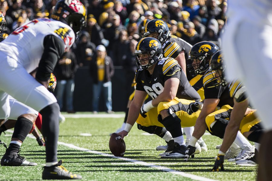 Iowa+offensive+lineman+Keegan+Render+waits+at+the+line+of+scrimmage+during+the+Iowa%2FMaryland+homecoming+football+game+at+Kinnick+Stadium+on+Saturday%2C+Oct.+20%2C+2018.+The+Hawkeyes+defeated+the+Terrapins%2C+23-0.+