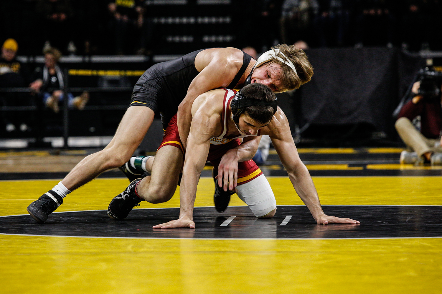 Iowa's Max Murin wrestles Iowa State's Ian Parker during Iowa's dual meet against Iowa State at Carver-Hawkeye Arena in Iowa City on Saturday, Dec. 1, 2018. Parker defeated Murin 5-4. Iowa defeated the Cyclones 19-18.