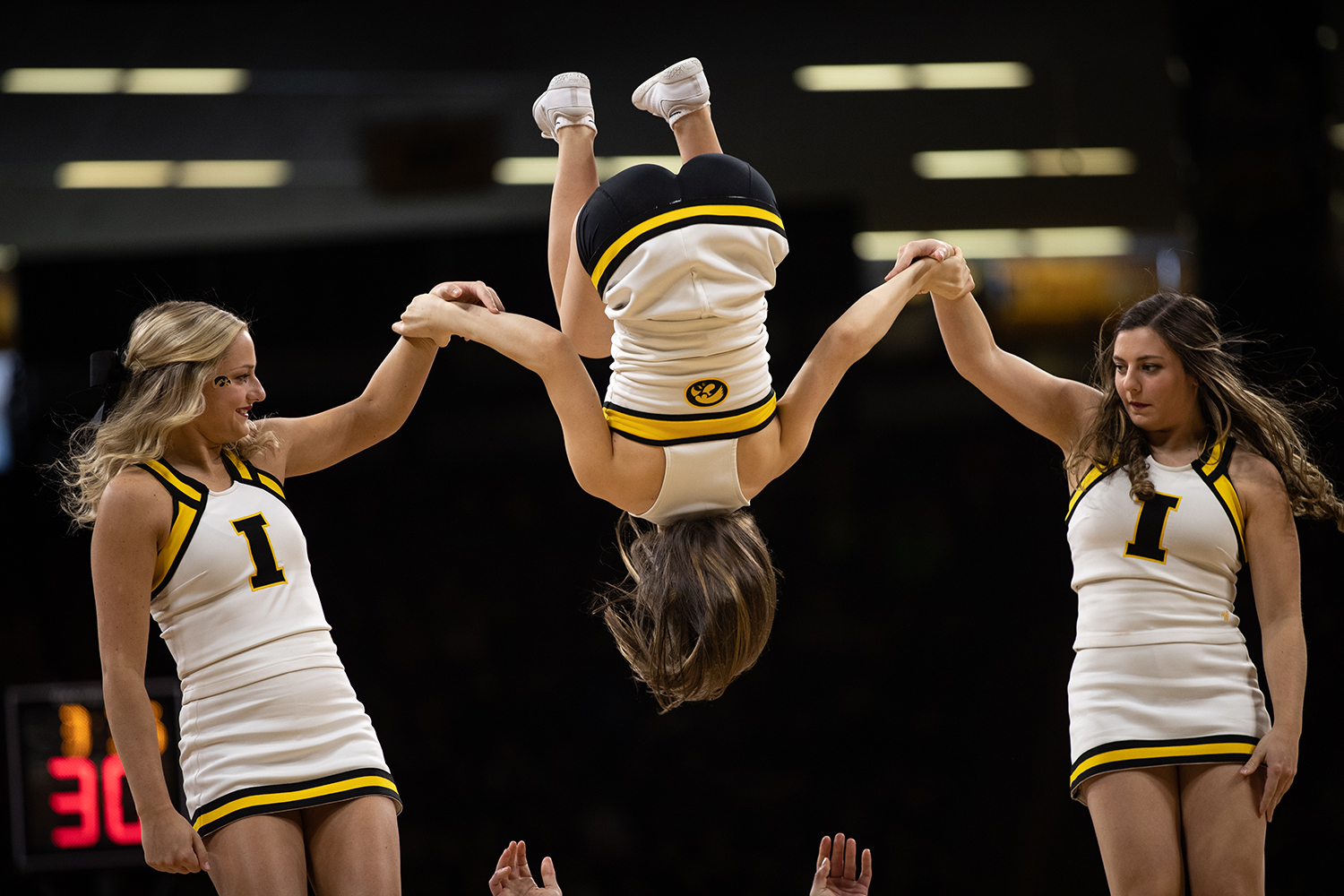 The+Spirit+Squad+perferms+their+dance+during+the+men%27s+basketball+game+against+Savannah+State+at+Carver-Hawkeye+Arena+on+Tuesday%2C+December+22%2C+2018.+The+Hawkeyes+defeated+the+Tigers+110-64.
