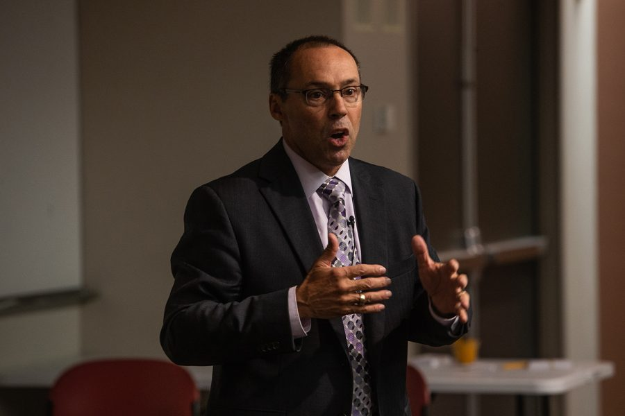 Steve Goddard speaks during a forum as one of four candidates for the University of Iowas Dean of the College of Liberal Arts and Sciences at Voxman Concert Hall on Tuesday, October 23, 2018. Previously, Goddard has served as the Interim Vice Chancellor for Research and Economic Development for the University of Nebraska-Lincoln.