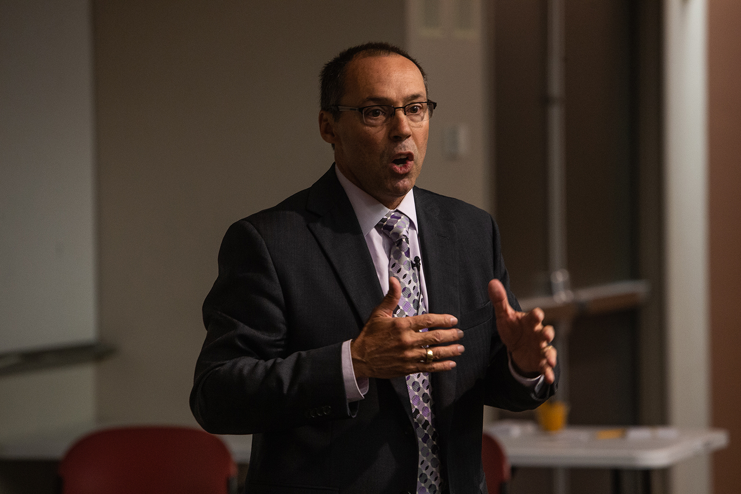 Steve Goddard speaks during a forum as one of four candidates for the University of Iowa's Dean of the College of Liberal Arts and Sciences at Voxman Concert Hall on Tuesday, October 23, 2018. Previously, Goddard has served as the Interim Vice Chancellor for Research and Economic Development for the University of Nebraska-Lincoln.